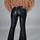 Thumbnail: Black Faux Leather Flare Pants