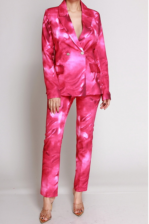 Tie Dye Pink Pant Suit
