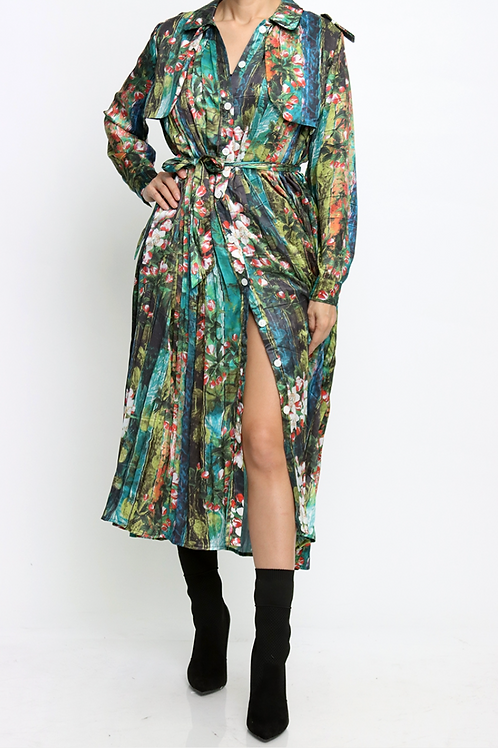 Pleated Flower Dress with Storm Flap