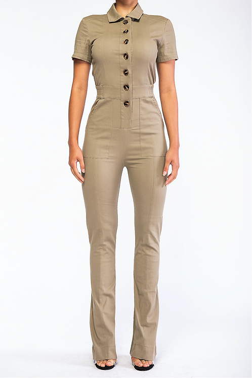 Short Sleeved Button Up Jumpsuit