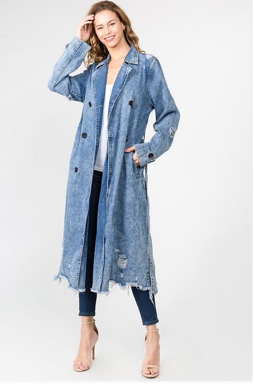 Long DenimTrench Coat Medium Wash Only
