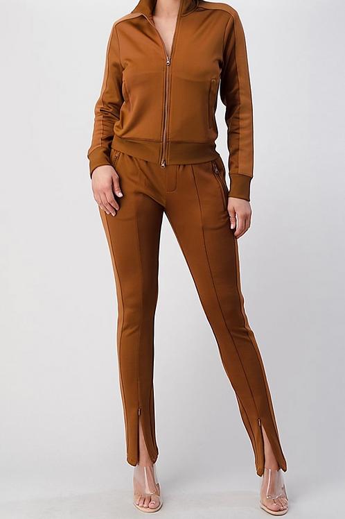 2 Tone Track Suit w/Hidden Pant Zipper