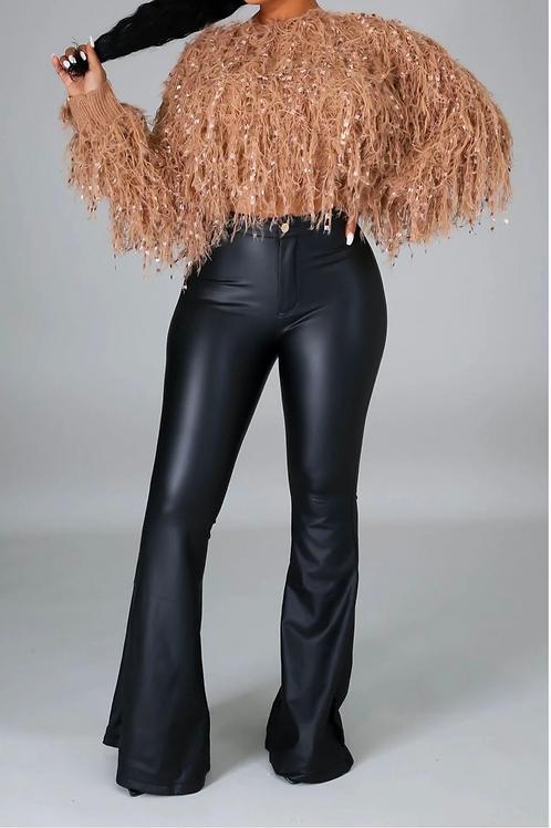 Black Faux Leather Flare Pants