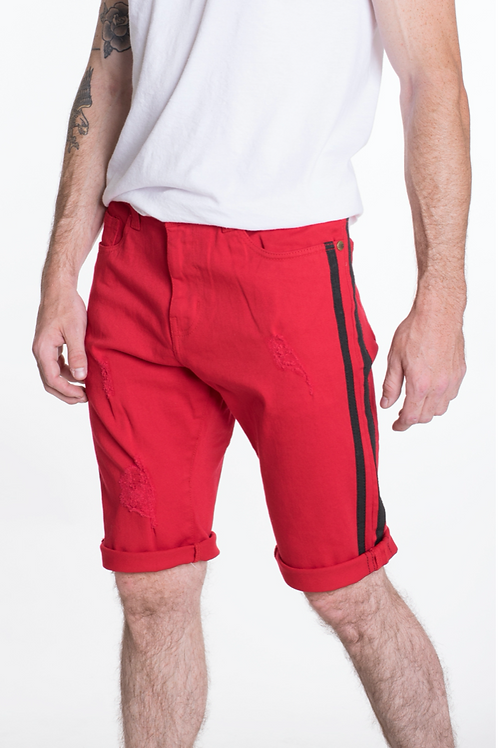Men's Slim Fit Red Shorts