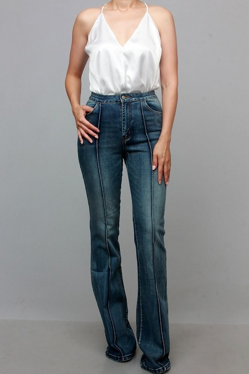 Fitted Denim with Flare Bottom