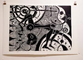 Risto Holopainen / avmytologisering / Tresnitt / 46 x 34 cm / opplag 4 / Kr 3300