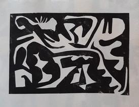 Anne Kari Ødegård / Sommartider, hej hej / Håndtrykket kollografi på japanpapir / opplag 6 ex / 15 x 21 cm / kr 900