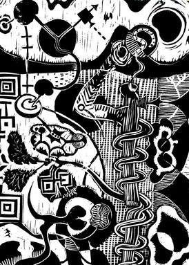 Risto Holopainen / Utan titel, men med pelare / Linoleumsnitt / 30 x 40 cm / Kr  3000 kr
