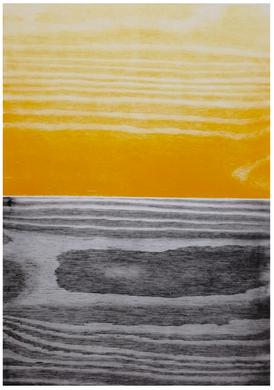 Anne Kari Ødegård / Horisont, gul / Tresnitt / 29 x 41 cm / kr 3000