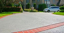 SUNDEK, concrete coating, spray texture, Classic Texture, brick runners, bone white with brick red r
