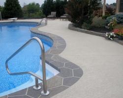 SUNDEK, spray texture, Classic Texture- pool deck, Custom Stone Pool Runner, custom stained pool run