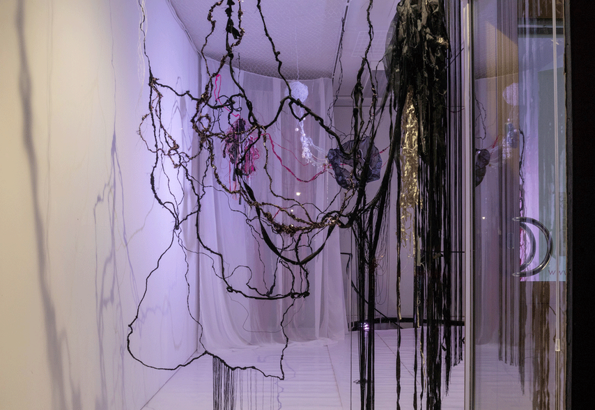 Piirros - A Drawing, textile installation (one of two rooms) 2020