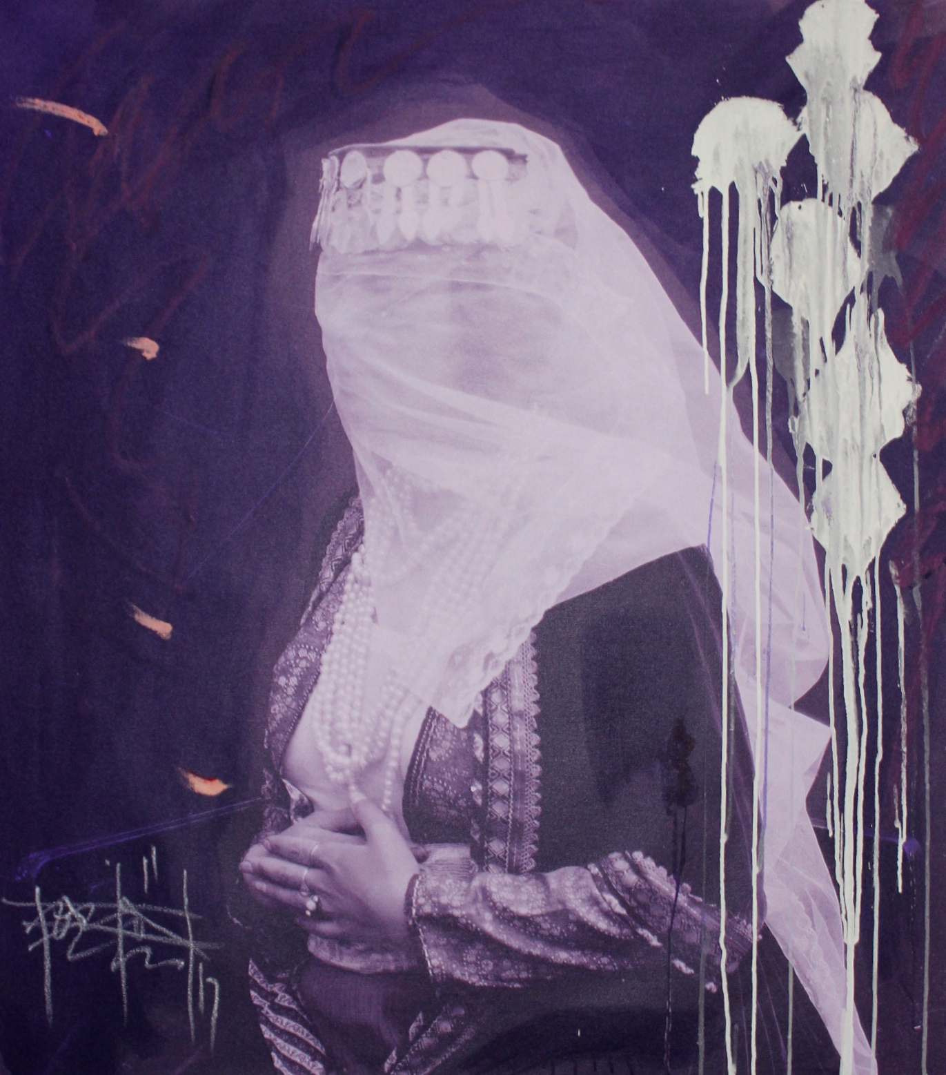 Woman With A Veil In Purple Panel II