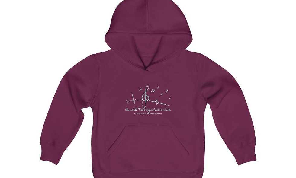 Music is Life Youth Heavy Blend Hooded Sweatshirt