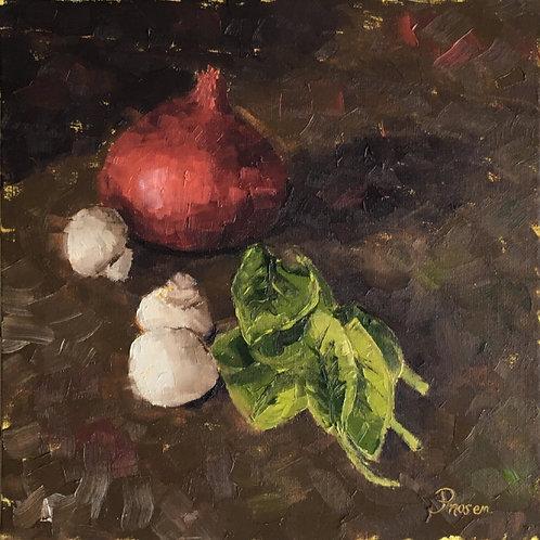 Preparing the dinner - Oil painting