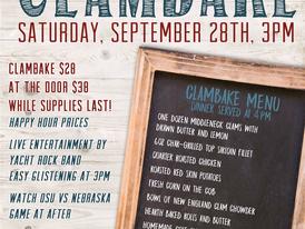 2019 Annual Clam Bake Sept. 28th
