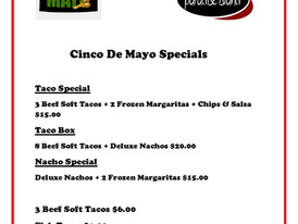 Cinco De Mayo Specials! Call us at 216-732-7101 to place your order. Take out available 11-9pm