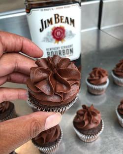 Bourbon Dark Chocolate Cupcakes made wit