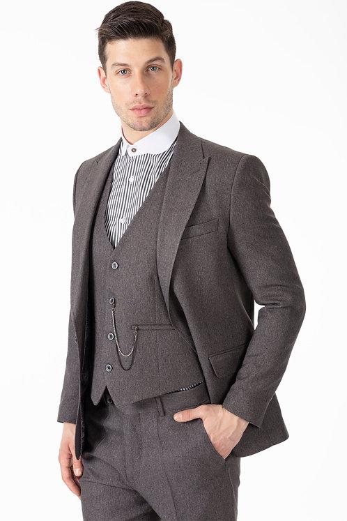 TOMMY - Peaky Blinders Style - Grey Tweed 3 Piece Suit