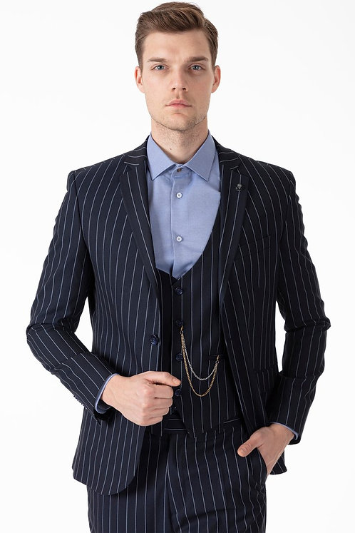 JAY - Navy Chalk Stripe 3 Piece Semi Slim Fit Suit