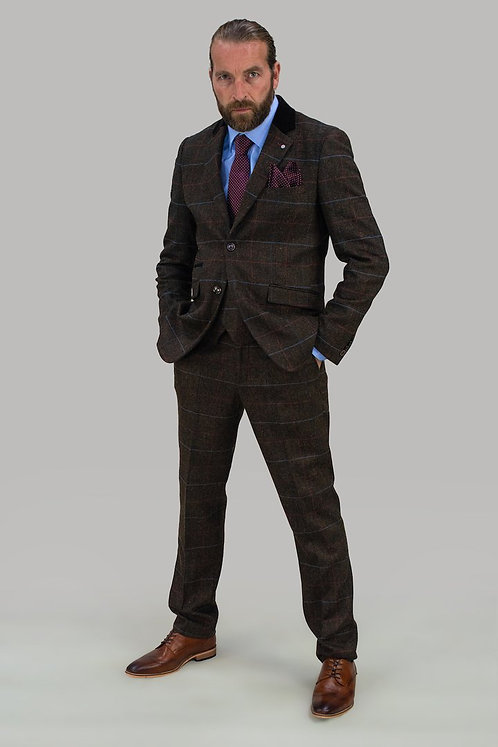 Tommy  Brown Check Three Piece Suit