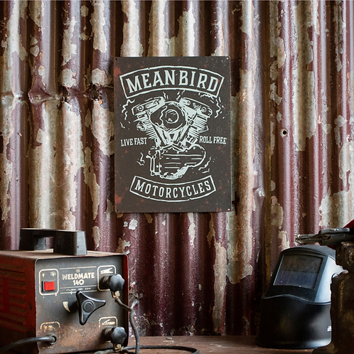 Mean Machine Metal Garage Plaque