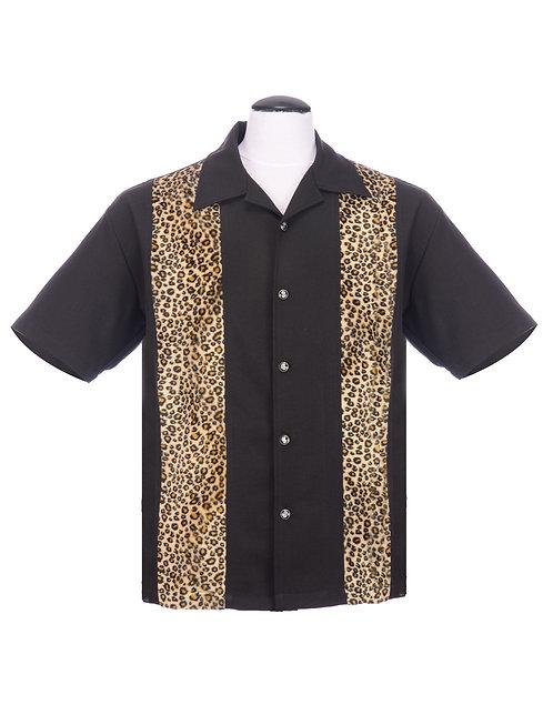Leopard Panel Button up Black