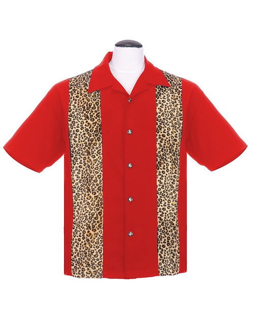 Leopard Panel Button up Red