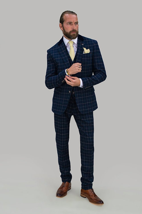 Shelby Blue Check Three Piece Suit