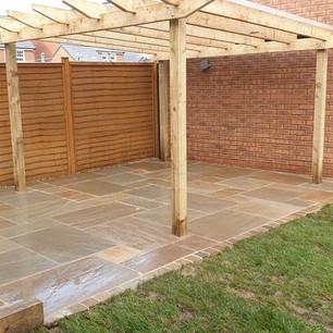 Garden patio with pergola in Cullompton