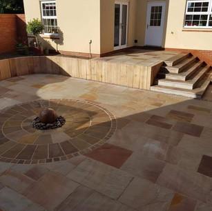 Circular patio construction in Exeter