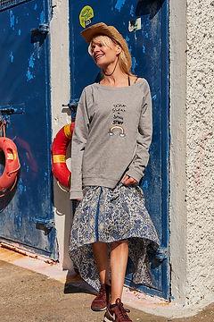 Don't Sweat the Small Stuff Jane Shortall grey sweatshirt with blue dress