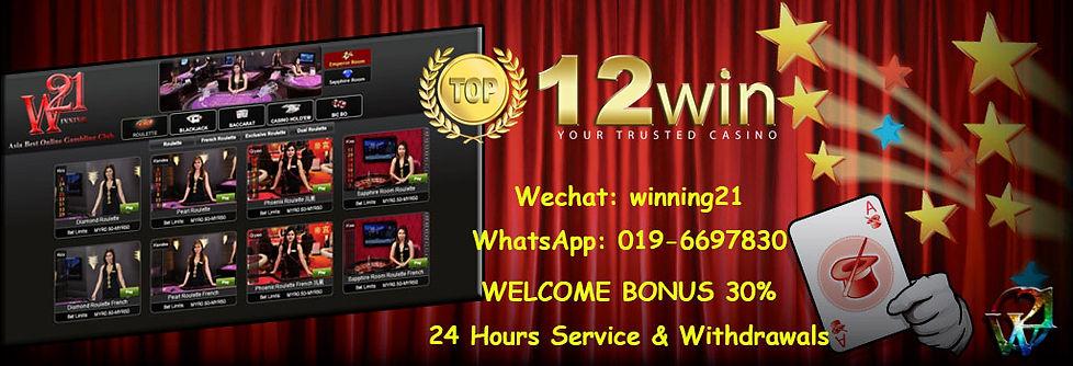 12win Online Casino Register Agent Malaysia
