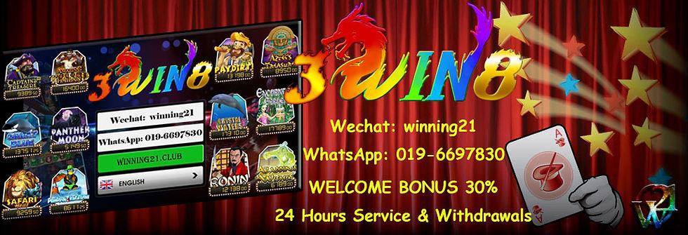 3win8 Online Casino Register Free Bonus Agent Malaysia