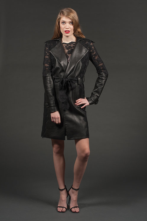 Style Lace&Leather Coat L124
