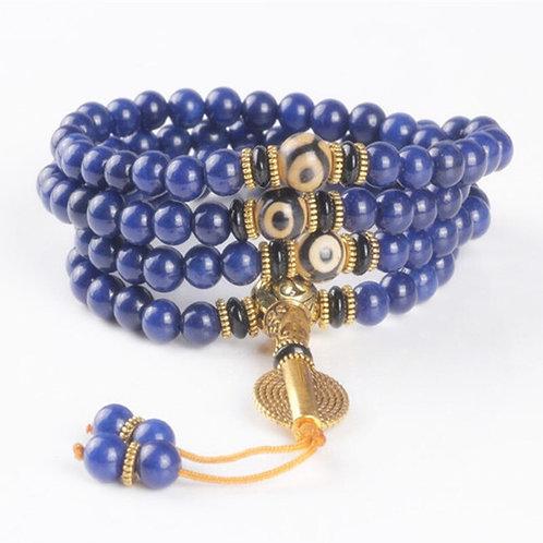 108  Lapis Lazuli Beads Buddha Prayer Mala Bracelet for Meditation Blue Stone