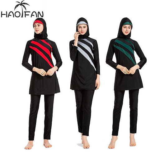 HAOFAN Women Modest Patchwork Plus SizeIslamic Surf Wear Sport Burkinis