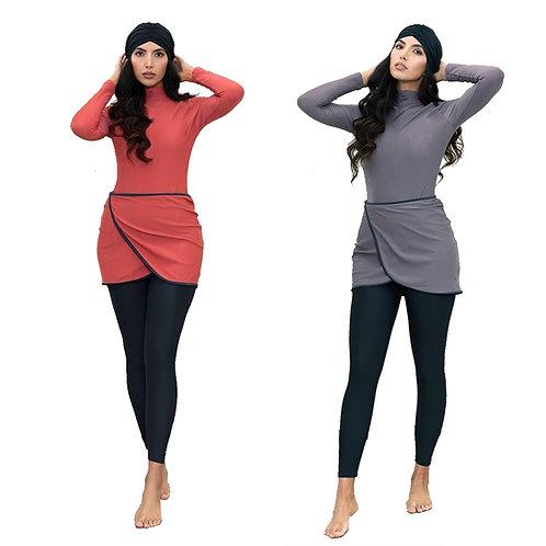 HAOFAN Muslim Swimwear Burkini Modest Swimwear Plus Size Bathing Suit 3PCS
