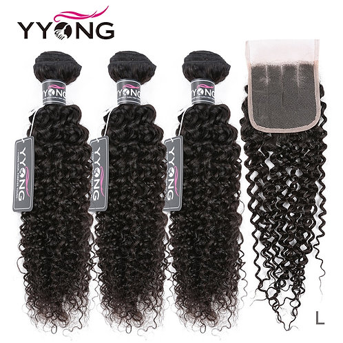 Brazilian Kinky Curly Bundles With Closure 3 Bundles With Closure