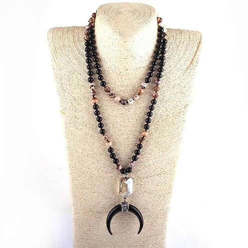 108 Beads Mala Black Stone Black Crescent Moon Charm Pendant