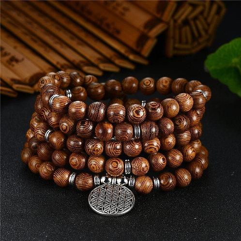 Prayer Beads Bracelet 108 Mala Meditation Flower of Life Lucky Wenge