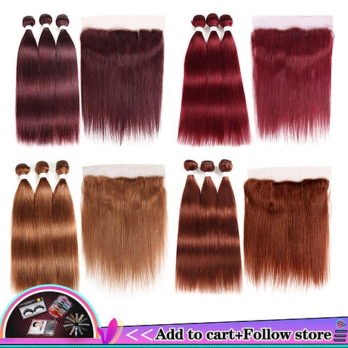 99j/Burgundy With Frontal 13x4 Pre-Colored Brazilian Straight Closure