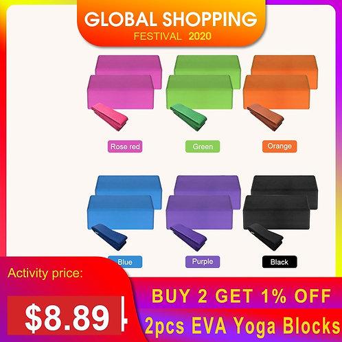 Indoor 2pcs EVA Yoga Blocks 1pcs Cotton Yoga Strap Stability Blocks