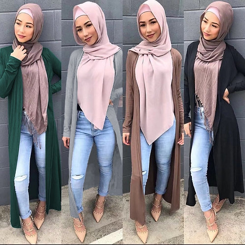 Long Open Abaya Knitted Dress Cardigan