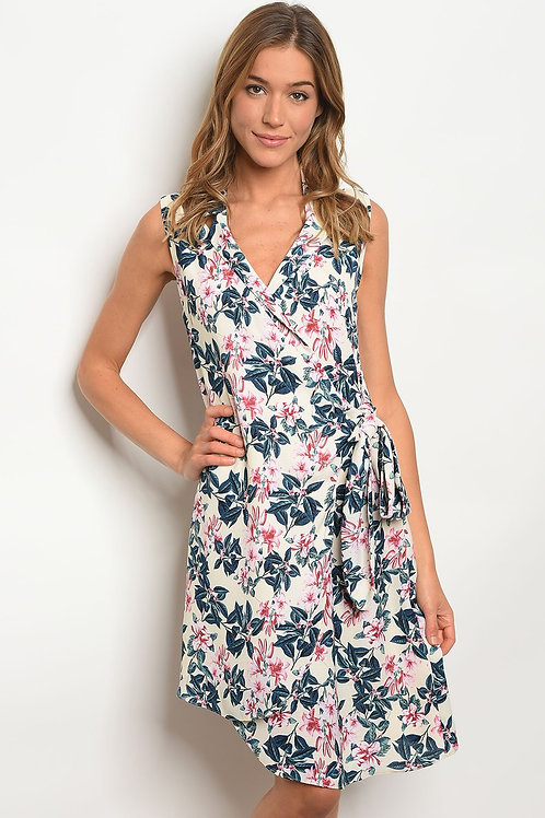 Womens Cream Floral Dress