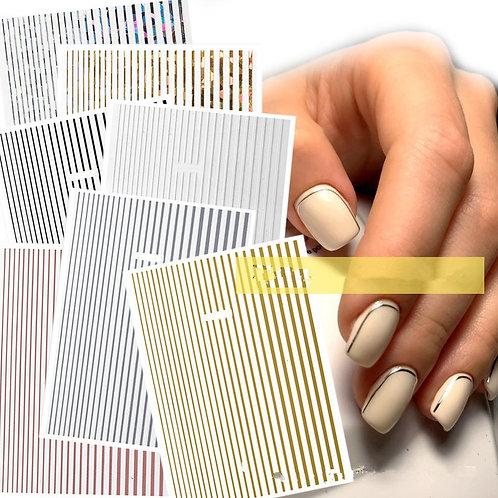 1 Piece Rose Gold Silver 3D Nail Sticker Curve Stripe
