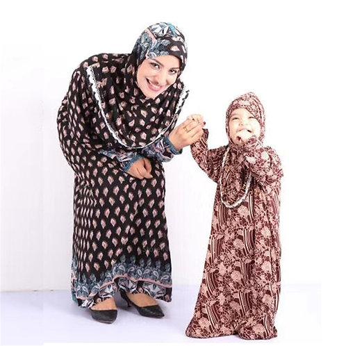 Dubai Ramadan Kaftan Mommy and Daughter Kids Arab Maxi