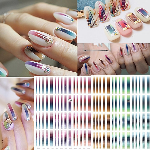 1 Sheet Gradient Striped Colorful Lines 3D Nail Art Sticker
