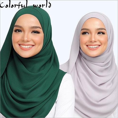 Plain Bubble Chiffon Scarf Hijab Wrap Print Solid Color