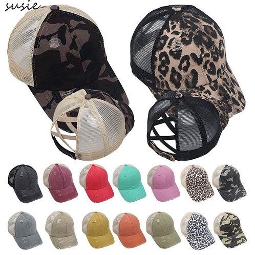 Women Distressed Washed Mesh Baseball Cap Leopard Camo PonyTrucker Hat